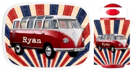 Set broodtrommel en drinkbeker VW bus oud