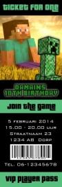 Kinderfeest uitnodiging Minecraft Ticket for One, setje van 5 stuks
