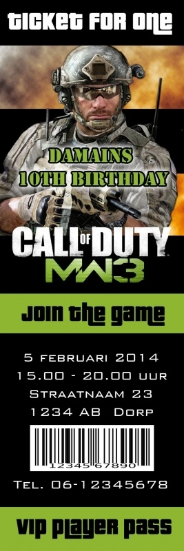 Kinderfeest uitnodiging MW3 Call of Duty Ticket for One, setje van 5 stuks