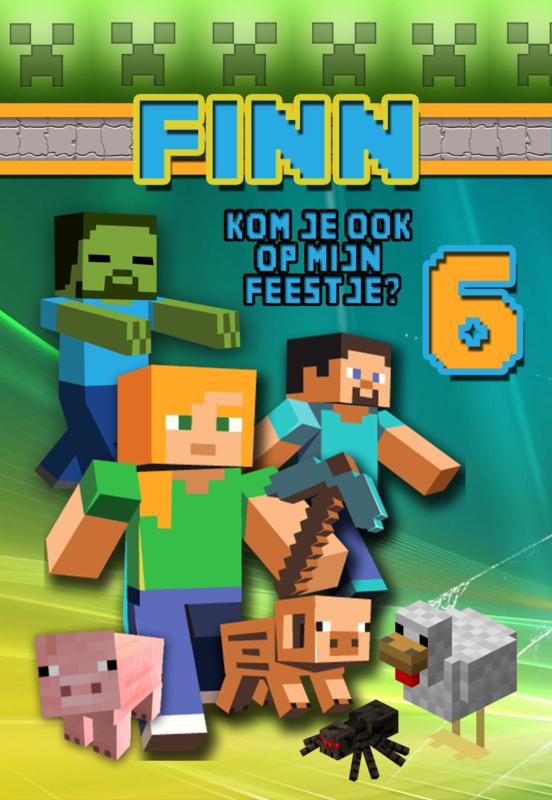 Kinderfeest uitnodiging Minecraft colours, setje van 6 stuks