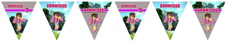 Kinderfeest vlaggenslinger Minecraft meisje