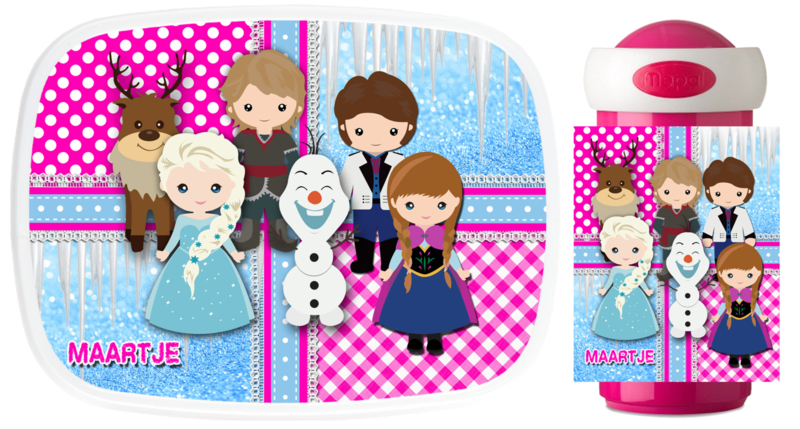 Set Mepal broodtrommel en drinkbeker Frozen like characterized pink