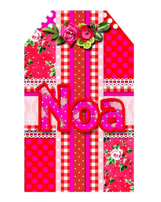 Kinderfeest traktatie labels Pipperig Roses, setje van 5 stuks