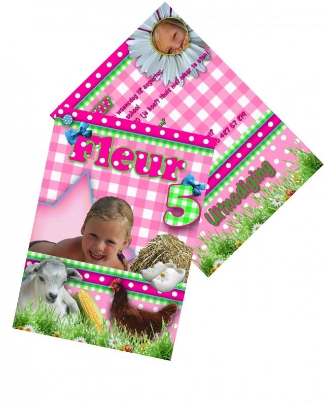 Uitnodiging kinderfeest schuifkaart, afdrukken en kant en klaar leveren