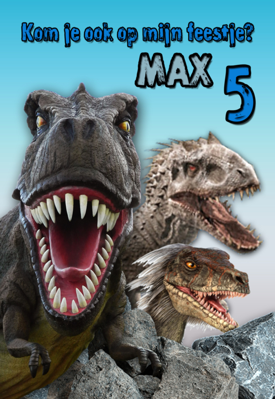 Kinderfeest uitnodiging Dino's, setje van 6 stuks