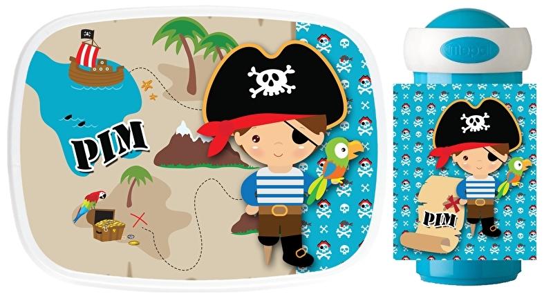 Set broodtrommel en drinkbeker Piraat schatkaart