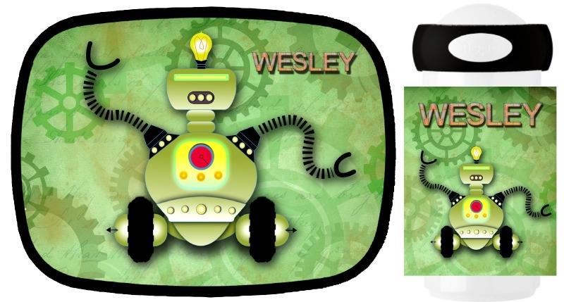 Set broodtrommel en drinkbeker Robot green