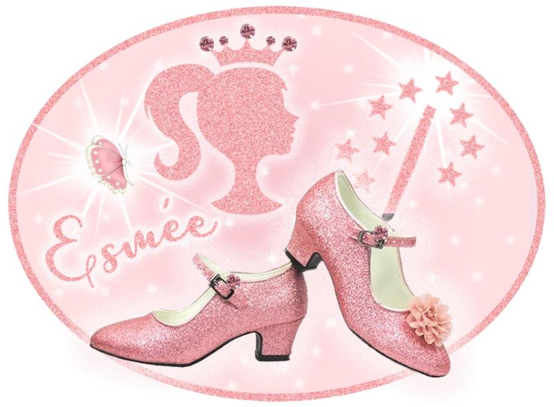 Strijkapplicatie Glitter Prinses met naam