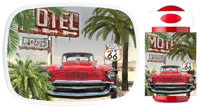 Set broodtrommel en drinkbeker Motel 66