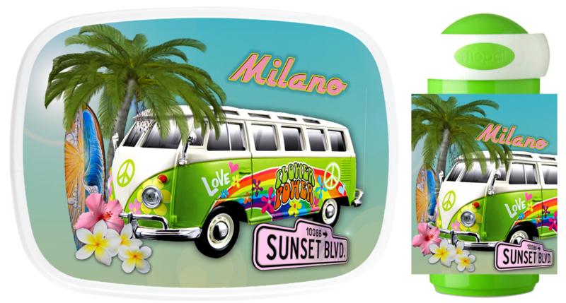 Set broodtrommel en drinkbeker VW Bus Hawai Hippie