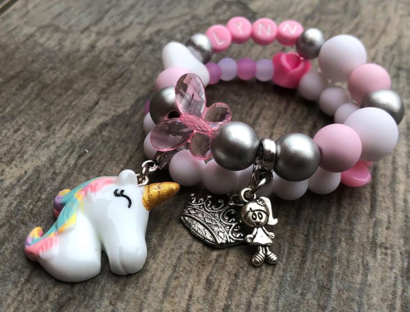 Kralenpakketje roze/wit/zilver Eenhoorn