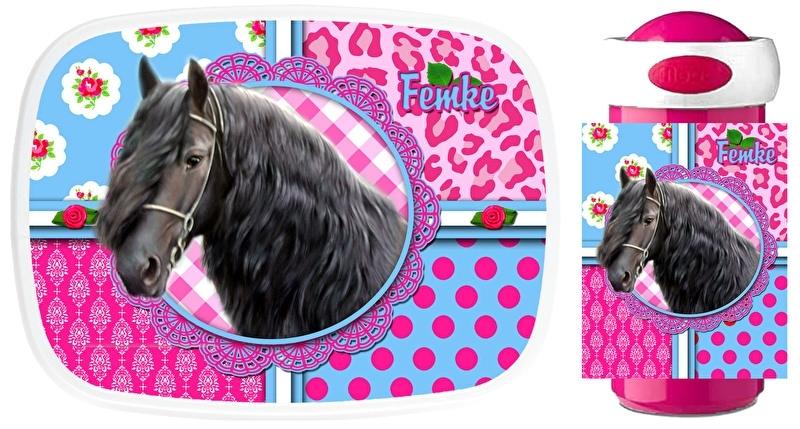 Set Mepal broodtrommel en drinkbeker fries paard pink/turquoise Femke