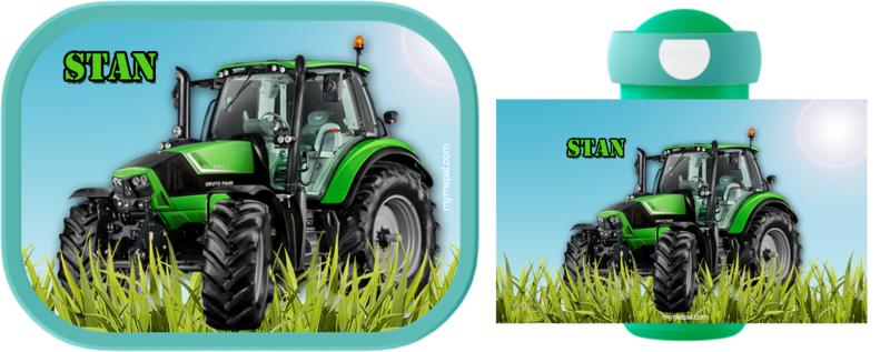 Set Mepal broodtrommel en drinkbeker traktor groen