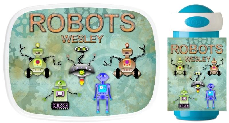 Set broodtrommel en drinkbeker Robots