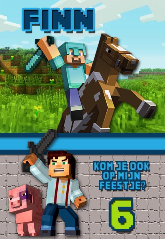 Kinderfeest uitnodiging Minecraft Horse,  setje van 5 stuks