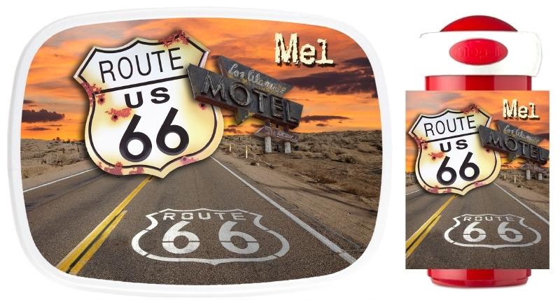 Set broodtrommel en drinkbeker Route 66
