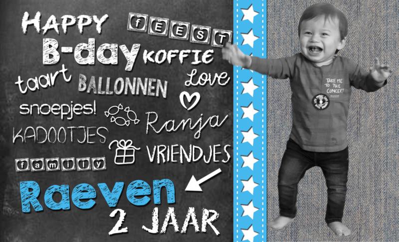 """Uitnodiging kinderfeest schoolbord """"Raeven"""" met foto, set van 5 stuks"""
