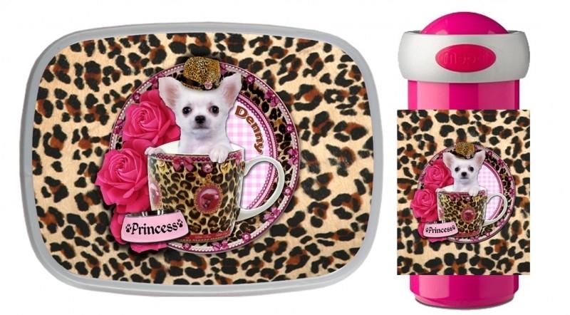 Set broodtrommel en Drinkbeker Chihuahua in Teacup