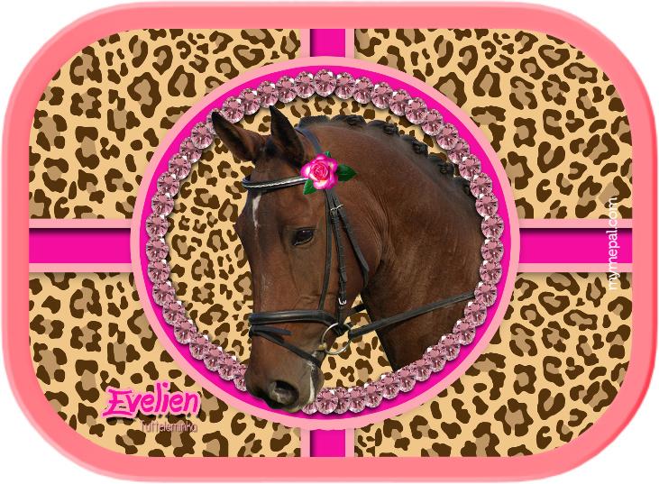 broodtrommel Paard op panterprint