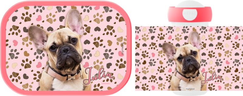 Mepal broodtrommel en drinkbeker Frenchy pink (Franse Bulldog)