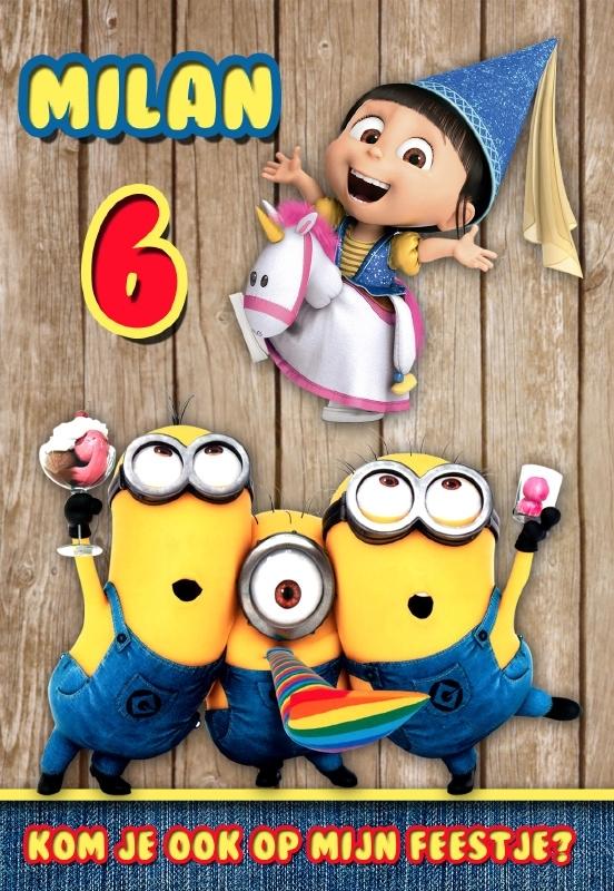 Kinderfeest uitnodiging Verschrikkelijke Ikke Minions party, setje van 6 stuks