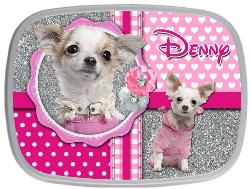 Broodtrommel Chihuahua pink glitter