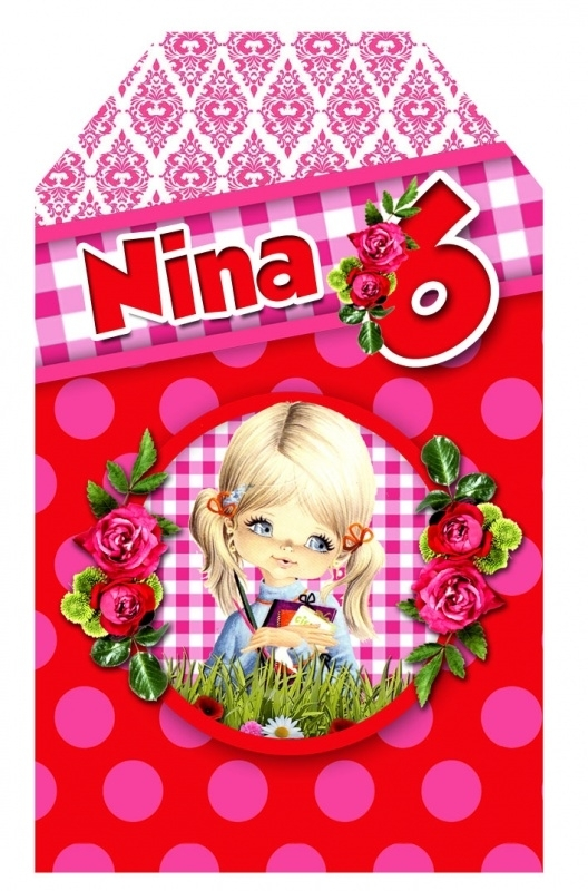 Kinderfeest traktatie labels Nina, setje van 5 stuks