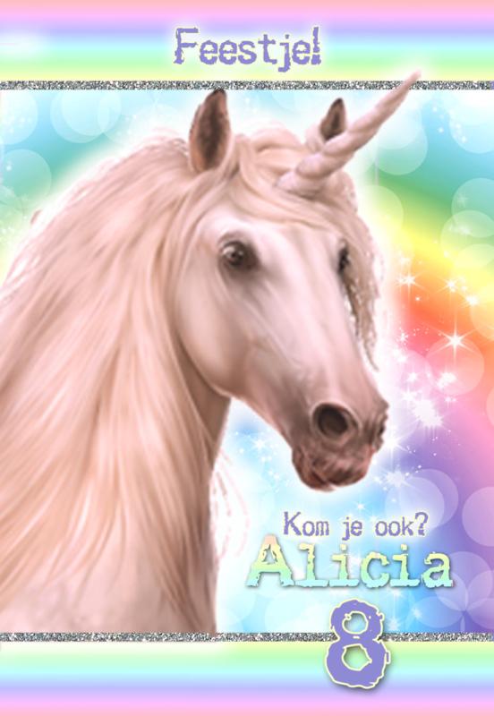 Kinderfeest uitnodiging Unicorn Rainbow, setje van 6 stuks