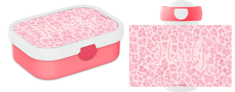 Mepal broodtrommel en drinkbeker Pink Panter Glitter