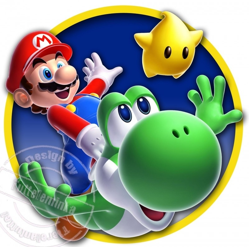 Strijkapplicatie Mario & Yoshi Fly