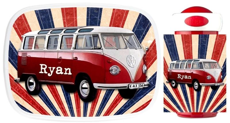 Set broodtrommel en drinkbeker VW bus oud