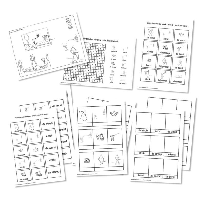 Spellingkleurplaten - Blok 2 - struik en worst (PDF-bestand)