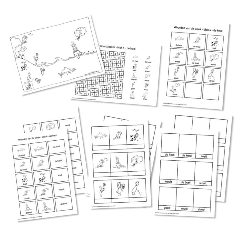 Spellingkleurplaten - Blok 4 - de haai (PDF-bestand)