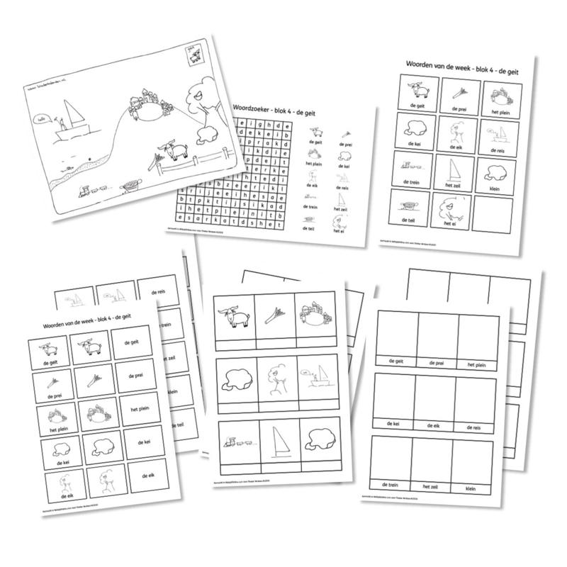 Spellingkleurplaten - Blok 4 - de geit (PDF-bestand)