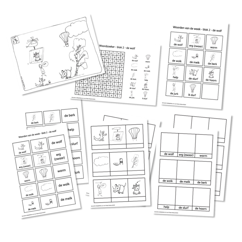 Spellingkleurplaten - Blok 2 - de wolf (PDF-bestand)