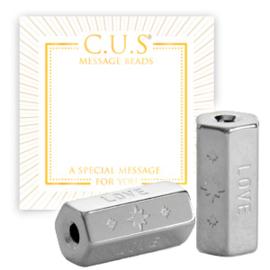 """1 x C.U.S® sieraden message beads """"love"""" & stars Zilver (nikkelvrij)"""