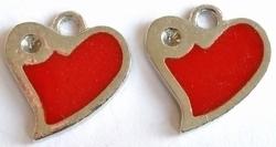 4x Metalen bedel hartje rood met ruimte voor 2mm similst 21 mm