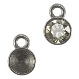 1x DQ hanger/setting voor SS24 puntsteen 1 oog Zilver antraciet ca. 9x6mm (voor SS24  5mm puntsteen)