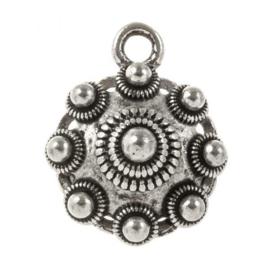 Metalen Zeeuwse knop 1 oog Antiek zilver 17mm oogje: 2mm