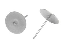 10 stuks oorstekers, zilverkleur maat 12mm lang 0,7mm dik en kop  Ø 10mm (geen stopper bijgesloten!)