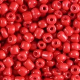 20 gram Glaskralen Rocailles 6/0 (4mm) Scarlet red
