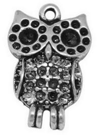 4 x Tibetaans zilveren bedel van een uil 19 x 13 x 4mm Gat: 2mm