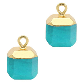 1 x Natuursteen hangers square Turquoise blue-gold Jade