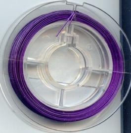 Rijgdraad met coating 0,45 mm x 10 meter paars