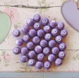 10 stuks Keramische glaskralen  12mm lila