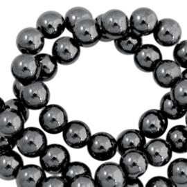20 x Hematite kralen rond 4mm Anthracite grey