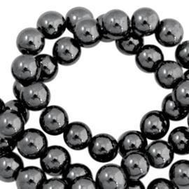 20 x half edelsteen kraal Hematite kralen rond 4mm Anthracite grey
