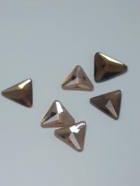 10x Prachtige brons plaksteen driehoekig 15mm