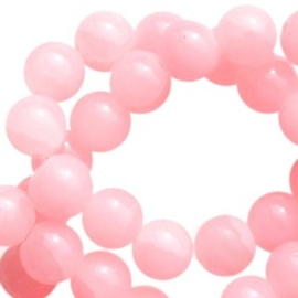 30 x Crackled opal glaskralen 6 mm Coral pink