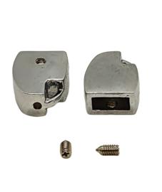 2 stuks DQ metaal eindkap RVS 15 x 12mm voor leer binnenzijde: 8mm x 3,5mm (nikkelvrij)